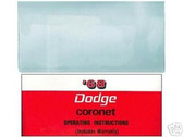 1968 68 DODGE CORONET/RT OWNER'S MANUAL & COVER