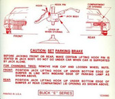 1970 BUICK RIVIERA JACK INSTRUCTION DECAL