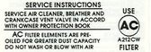 67 68 69 CAMARO/CHEVELLE 396 375HP AIR CLEAN SVC INST DECAL