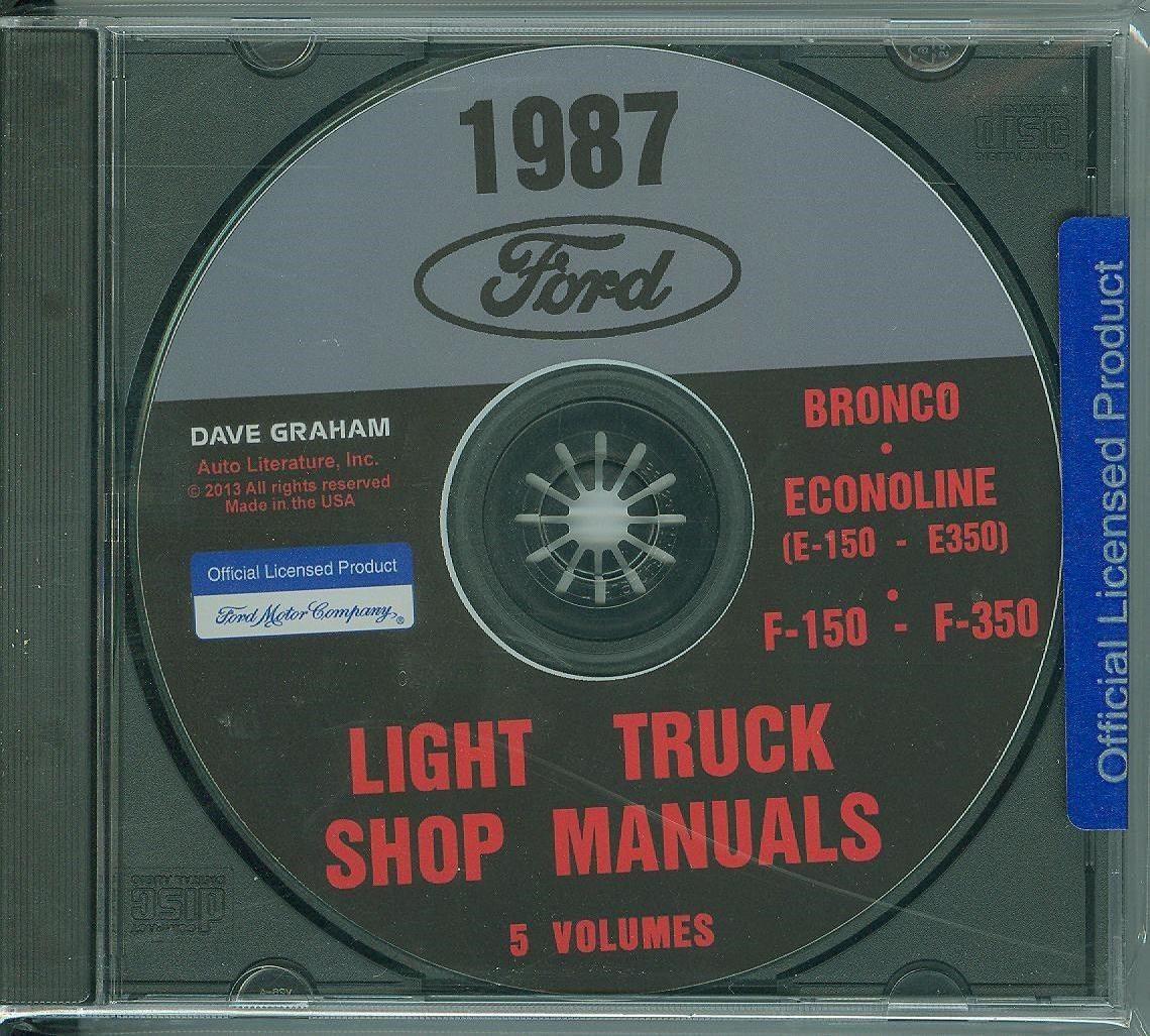 87 FORD TRUCK SHOP REPAIR MANUAL ON CD-F-150 F-350 BRONCO ECONOLINE, E-100/  350. Image 1