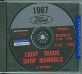 87 FORD TRUCK SHOP REPAIR MANUAL ON CD-F-150 F-350 BRONCO ECONOLINE, E-100/ 350