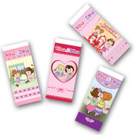 Packed in singles.  Available in 4 designs.  Buy them as singles or a set of 4.  Each eraser is .79¢