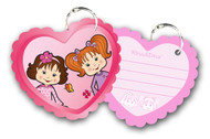 Rina and Dina Heart Shape Sheets on a Key Ring