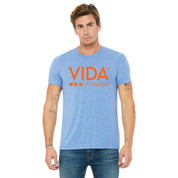 VIDA Unisex 365 Athletic Blue T-Shirt- VA Logo