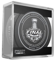 2015 Stanley Cup Finals Game 2 NHL Hockey Official Game Puck Tampa Bay Lightning vs Chicago Blackhawks