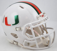 "Miami Hurricanes Riddell NCAA Replica Revolution SPEED Mini Helmet NEW ""Metallic"" logos"