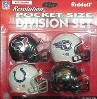 AFC South Division NFL Riddell Pocket Pro Revolution Helmet 4-Pack Set Houston Texans, Tennessee Titans, Indianapolis Colts & Jacksonville Jaguars