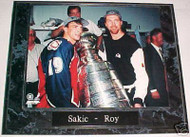Joe Sakic & Patrick Roy Avalanche 10.5x13 Plaque
