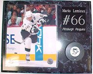 Mario Lemieux Pittsburgh Penguins 15x12 Plaque With Puck