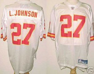 Larry Johnson Kansas City Chiefs White Custom Reebok Licensed Mesh Souvenir Jersey Size XL