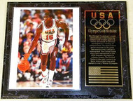 Magic Johnson Team USA Olympic Games 15x12 Gold Medal Plaque