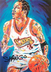 John Stango Autographed 6x8.5 Allen Iverson Philadelphia 76ers Postcard of his Original Abstract Art Acrylic on Canvas Painting