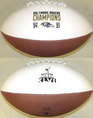 Baltimore Ravens Super Bowl 47 XLVII Champions Jarden Sports NFL Full Size Football (2 White & 2 Brown Panels)