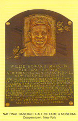 Willie Mays Giants Hall Of Fame Postcard