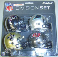 NFC South Division NFL Riddell Pocket Pro Revolution Helmet 4-Pack Set Atlanta Falcons, Carolina Panthers, New Orleans Saints & Tampa Bay Buccaneers