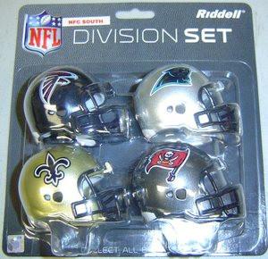 4b1eb4a82 NFC South Division NFL Riddell Pocket Pro Revolution Helmet 4-Pack ...