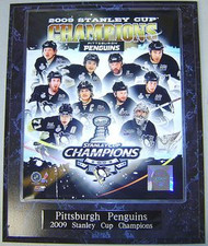 Pittsburgh Penguins 2009 NHL Stanley Cup Champions 10.5x13 Plaque