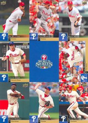 Philadelphia Phillies 2008 World Series Champion 7.5 x 10.5 MLB Upper Deck Card Blanton, Hamels, Myers, Utley, Howard, Rollins, Lidge & Victorino