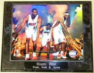 Dwyane Wade, Chris Bosh & Lebron James Miami Heat 10.5 x 13 NBA Plaque
