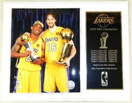 Kobe Bryant MVP & Pau Gasol Los Angeles Lakers 2010 NBA Champions 12x15 Plaque