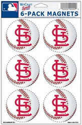 St. Louis Cardinals MLB Team Logo Wincraft Magnet 6-Pack