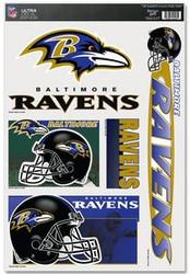 Baltimore Ravens NFL Team Logo Wincraft Sports 11x17 Ultra Decal - 5 Decal Sheet