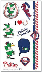 Philadelphia Phillies Phillie Phanatic MLB Logo Wincraft Temporary Tattoos Sheet