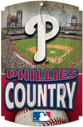 "Philadelphia Phillies Country MLB Team Logo Wincraft 11"" x 17"" Hardboard Wood Sign"