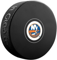 New York Islanders NHL Team Logo Autograph Model Hockey Puck - Current Logo
