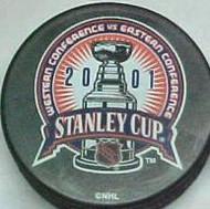 2001 NHL Stanley Cup Logo Hockey Puck New Jersey Devils vs. Colorado Avalanche