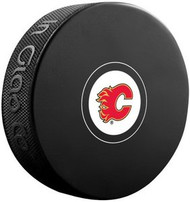 Calgary Flames NHL Team Logo Autograph Model Hockey Puck - Current Logo