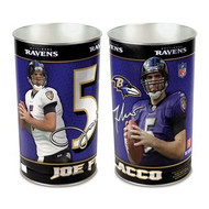 Baltimore Ravens Joe Flacco NFL Team Logo Wincraft Metal Tapered Wastebasket Trash Can
