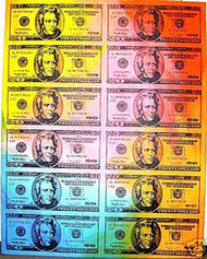 Andrew Jackson 20 Dollar Bill Sheet 38x48 John Stango Original Abstract Art Acrylic On Canvas Painting - 20dollarsheet38x48yellowtoplt