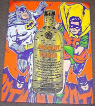 Batman & Robin Absolut 24.5x30.5 John Stango Original Abstract Art Acrylic On Canvas Painting