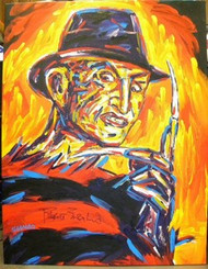 A Nightmare on Elm Street 39.5x51 John Stango Original Abstract Art Acrylic On Canvas Painting Hand Signed By Robert Englund
