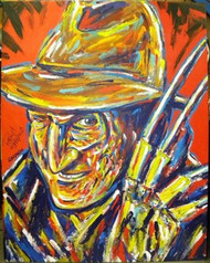 A Nightmare on Elm Street 41x52.5 John Stango Original Abstract Art Acrylic On Canvas Painting Hand Signed By Robert Englund
