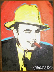Al Capone 25x34 John Stango Original Abstract Art Acrylic On Canvas Painting