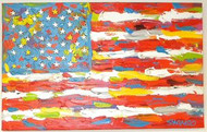 American Flag 21x33.5 John Stango Original Abstract Art Acrylic On Canvas Painting