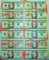 Andrew Jackson 20 Dollar Bill Sheet 38x48 John Stango Original Abstract Art Acrylic On Canvas Painting - 20dollarsheet38x48greentheme
