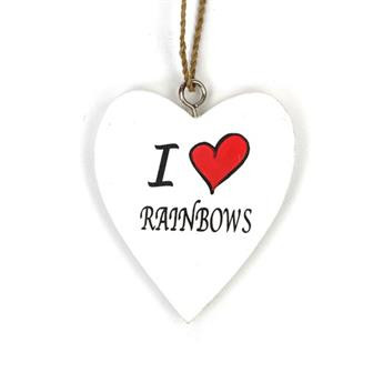 I Love Rainbows Hanging Heart Decoration