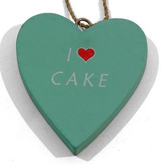 I Love Cake Hanging Heart Decoration