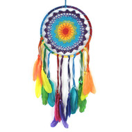 Medium Rainbow Crochet Dreamcatcher