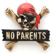 'No Parents' Skull Plaque