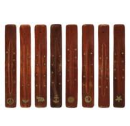 Mango Wood Incense Stick Holder with Brass Inlay