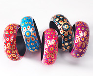 Handpainted Wooden Bangle Flower Design