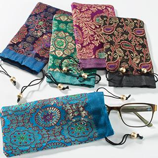 Brocade Drawstring Glasses Case