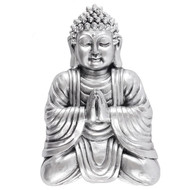 Antique Silver Praying Buddha Wall Plaque