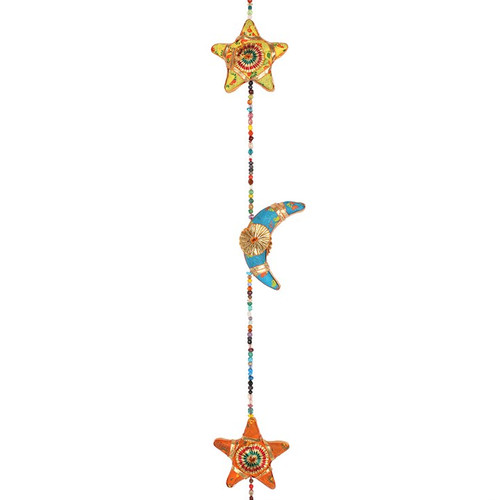 Hanging Moon and Stars String with Bell