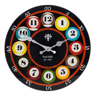 Pool Balls Large Glass Clock