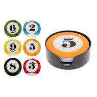 Set of 6 Round Pool Ball Coasters